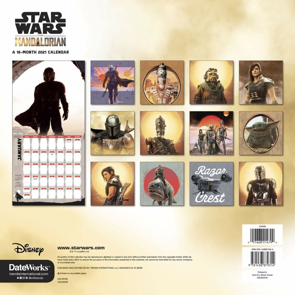 The Mandalorian: 2021 Wall Calendar