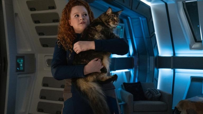 Tilly holds Grudge the cat in Star Trek: Discovery Season 3 Episode 6