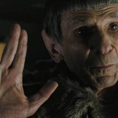 Leonard Nimoy Gives the Vulcan Salute as Spock in the 2009 Star Trek Movie