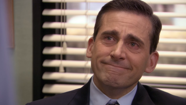 Michael Scott from The Office, crying