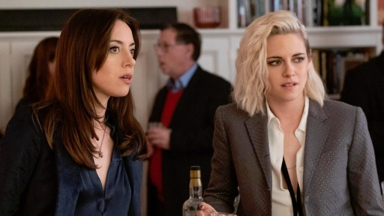 Kristen Stewart and Aubrey Plaza as Abby and Riley in Happiest Season