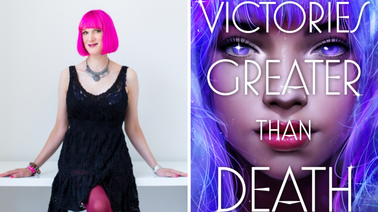 Author Charlie Jane Anders and the Cover of Victories Greater Than Death