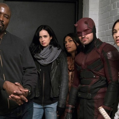 Mike Colter, Krysten Ritter, Charlie Cox, Rosario Dawson and Jessica Henwick on The Defenders