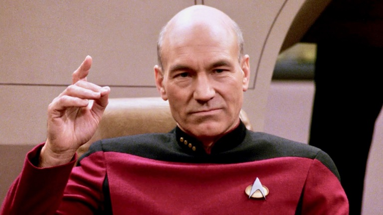 "Captain Picard About to ""Engage"" in Star Trek: The Next Generation"