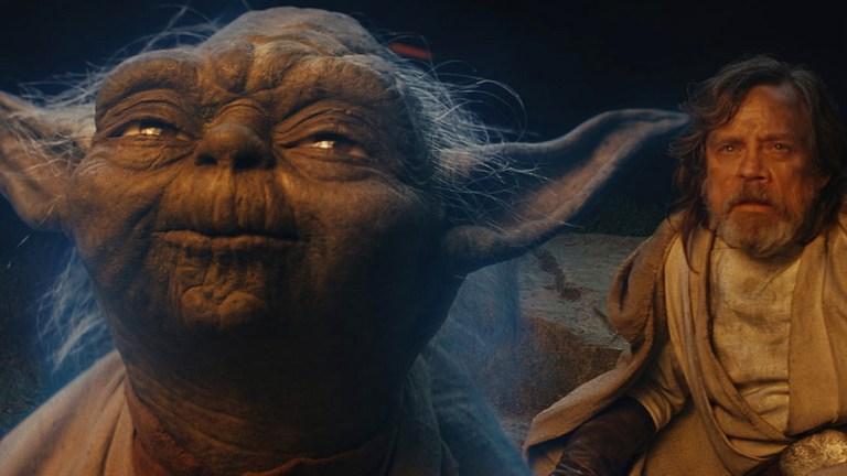 Yoda and Luke Skywalker (Mark Hamill) in Star Wars: The Last Jedi