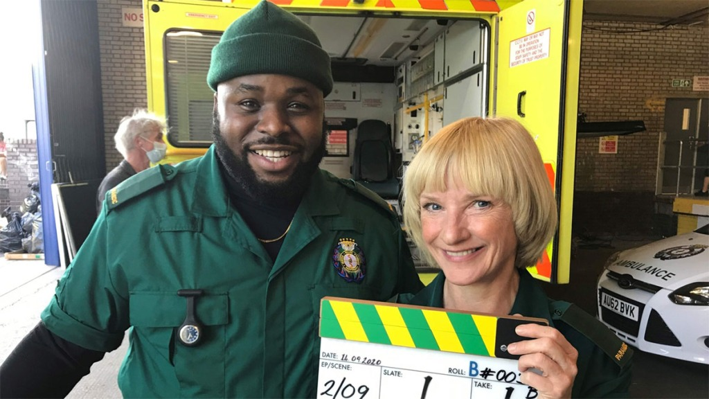 Samson Kayo and Jane Horrocks in Bloods Sky One
