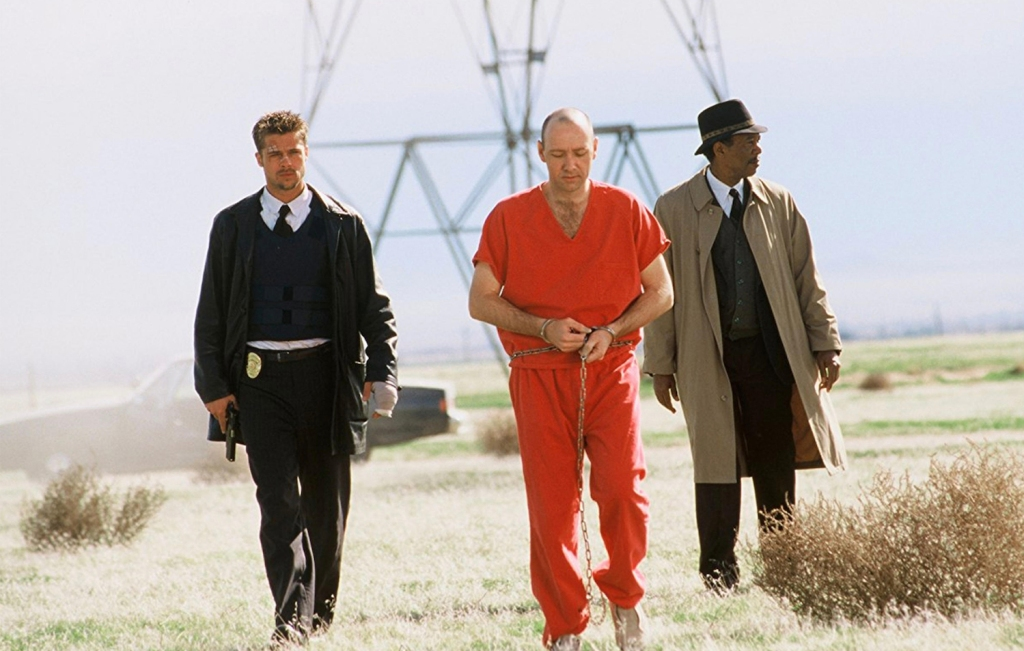 Brad Pitt Kevin Spacey and Morgan Freeman in Seven