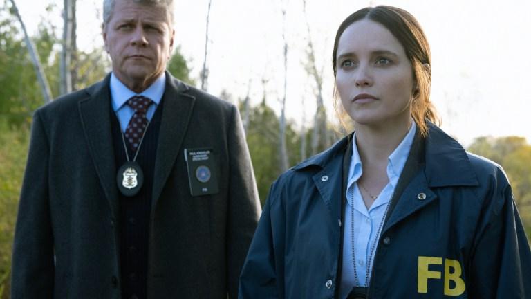 Clarice (Rebecca Breeds) and Paul Krendler (Michael Cudlitz) in CBS's Clarice