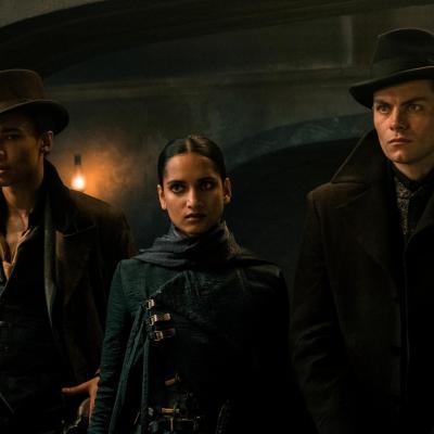 Six of Crows characters esper Fahey, Inej Ghaf, and Kaz Brekker