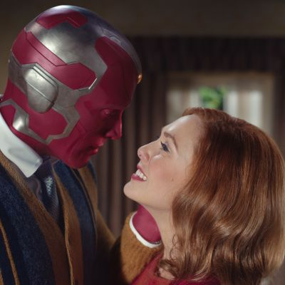 Paul Bettany as Vision and Elizabeth Olsen as Scarlet Witch in Marvel's WandaVision