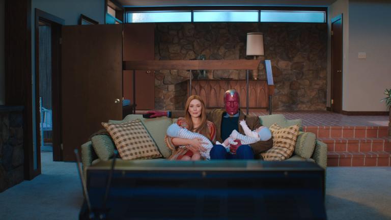 Elizabeth Olsen as Wanda Maximoff and Paul Bettany as Vision in Marvel's WandaVision