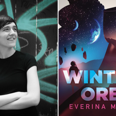 Author Everina Maxwell and the cover of her book Winter's Orbit