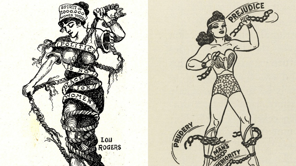 Lou Rogers Chains Cartoon and Wonder Woman