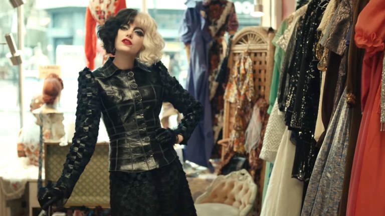 Emma Stone in Black Leather in Cruella