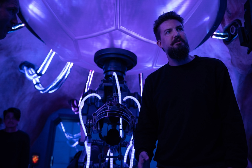 director Adam Wingard on the set of Godzilla vs. Kong
