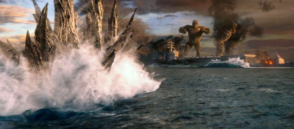 Godzilla approaches the ship King Kong stands on in Godzilla vs. Kong