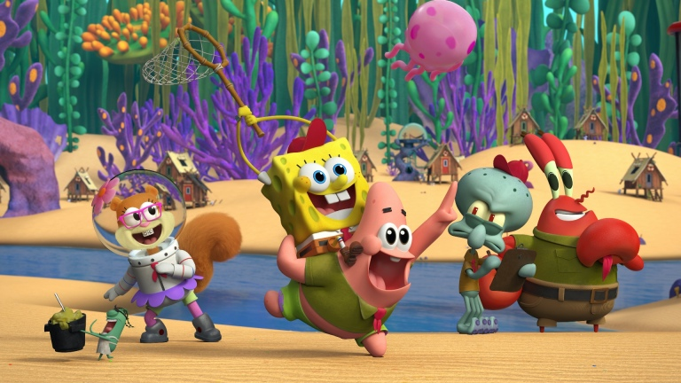 Sandy, SpongeBob, Patrick, Squidward, and Mr. Krabs in Kamp Koral