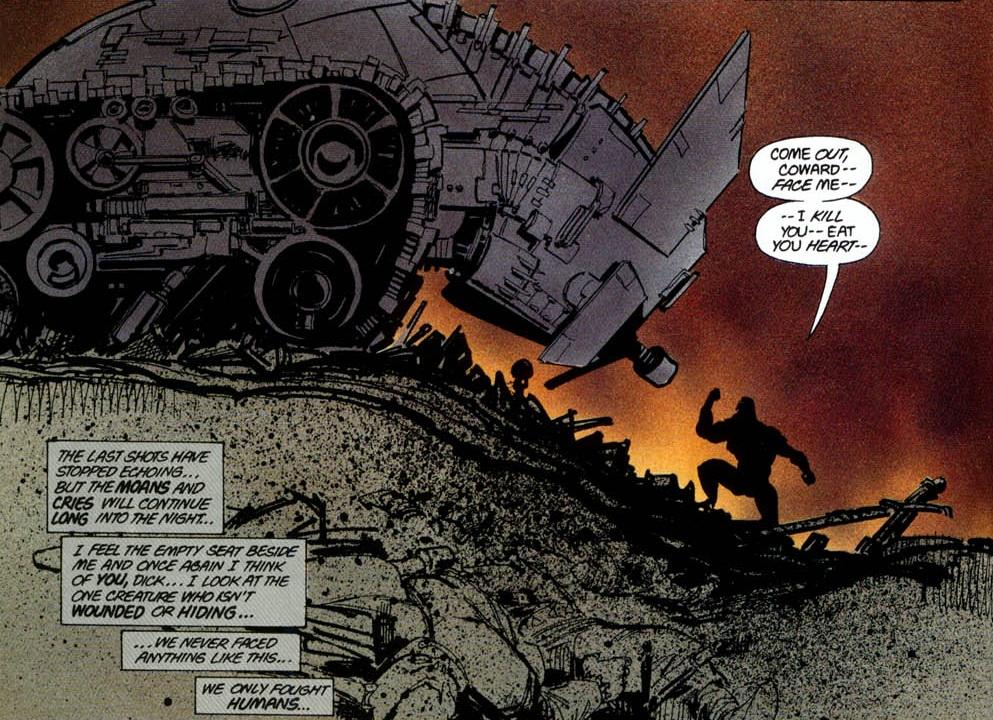 the Batmobile in DC's The Dark Knight Returns comic by Frank Miller
