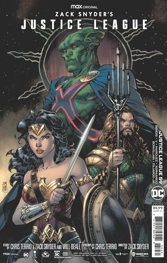 Wonder Woman, Aquaman, and Martian Manhunter on Jim Lee variant cover for Zack Snyder's Justice League #59