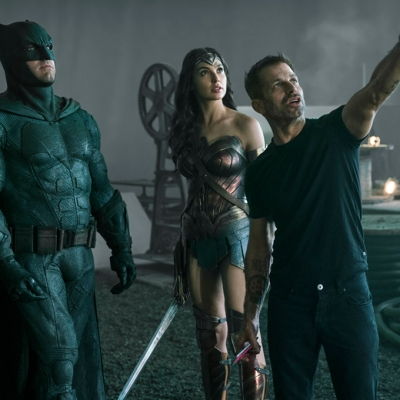 Ben Affleck, Gal Gadot and Zack Snyder on the Justice League set