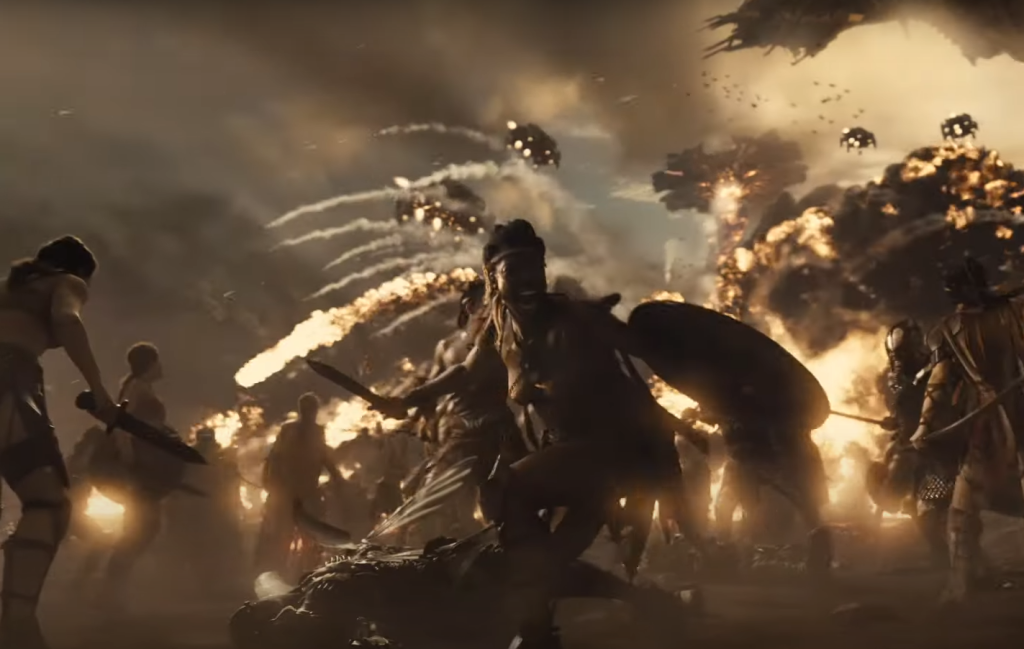 The Amazons at war with the Parademons in Zack Snyder's Justice League