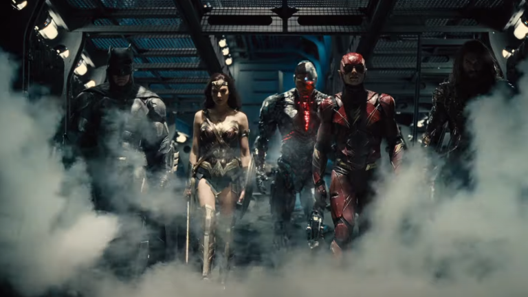 Batman, Wonder Woman, Cyborg, Flash, and Aquaman in Zack Snyder's Justice League