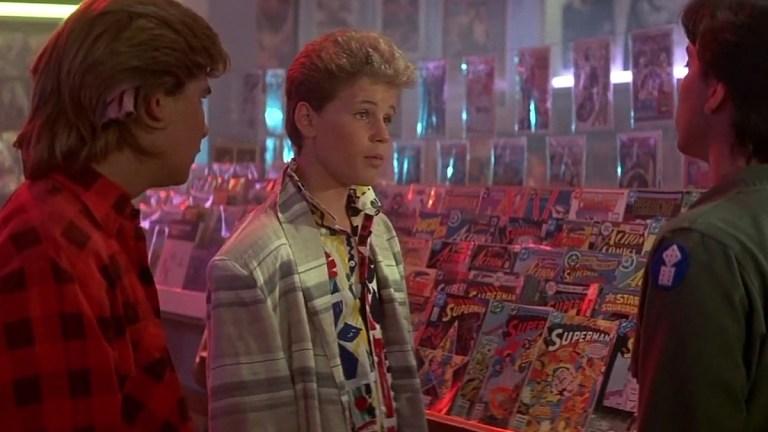 Corey Feldman, Corey Haim and Jamison Newlander in The Lost Boys