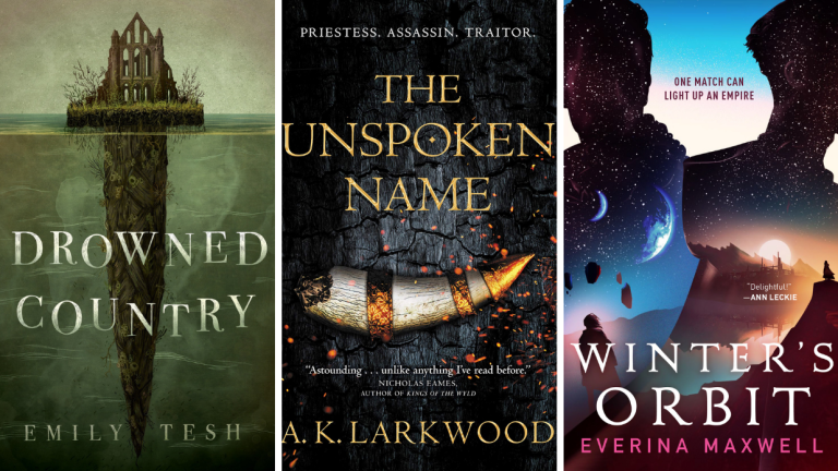The book covers for Drowned Country, The Unspoken Name, and Winter's Orbit