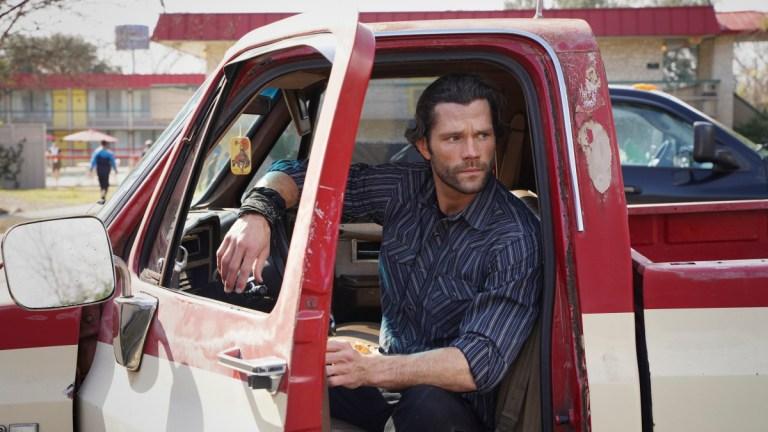 Jared Padalecki sits in a truck in Walker