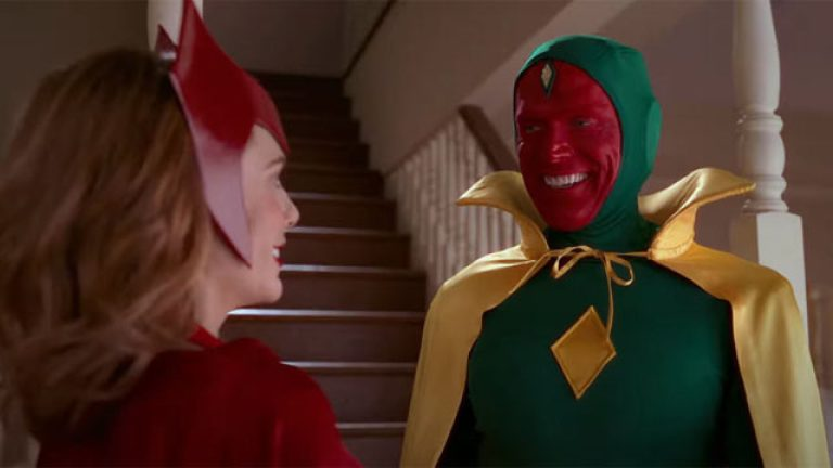 Elizabeth Olsen and Paul Bettany as Scarlet Witch and Vision in Marvel's WandaVision Episode 6