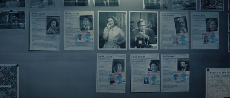 Wall of IDs from WandaVision episode 4