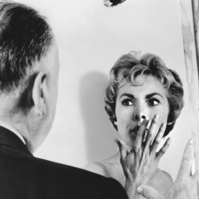 Alfred Hitchcock and Janet Leigh on Psycho Shower Set