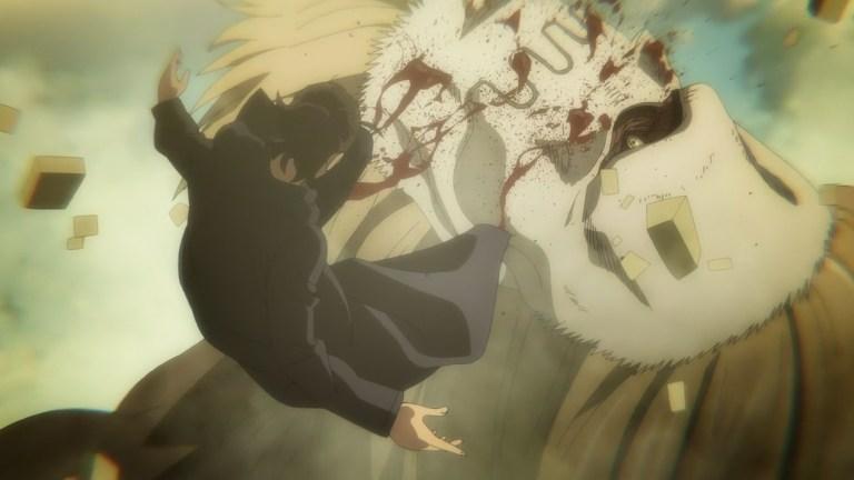 Attack On Titan Season 4 Episode 16 Jaw Titan Bites Eren