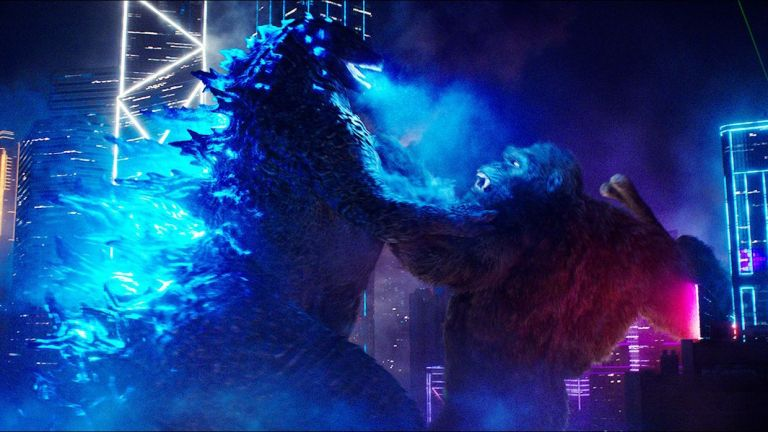 Godzilla vs Kong fight in Hong Kong at night