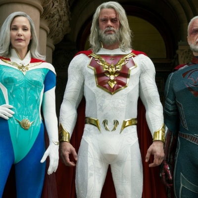 Grace Sampson (Leslie Bigg), Sheldon Sampson (Josh Duhamel), and Walter Sampson (Ben Daniels) in Jupiter's Legacy