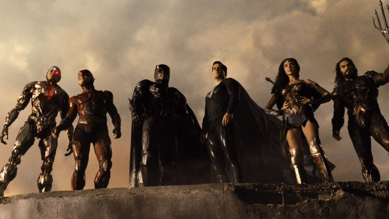 Cyborg, Flash, Batman, Superman, Wonder Woman, and Aquaman all assembled in Justice League