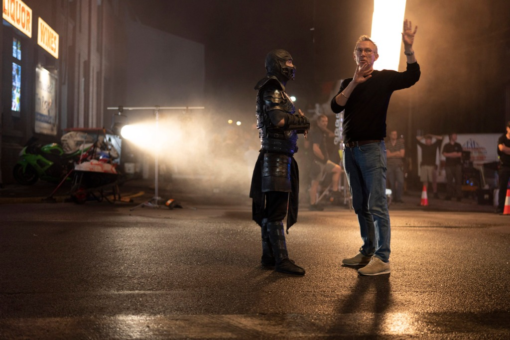 Joe Taslim as Sub-Zero and director Simon McQuoid on the set of the Mortal Kombat movie