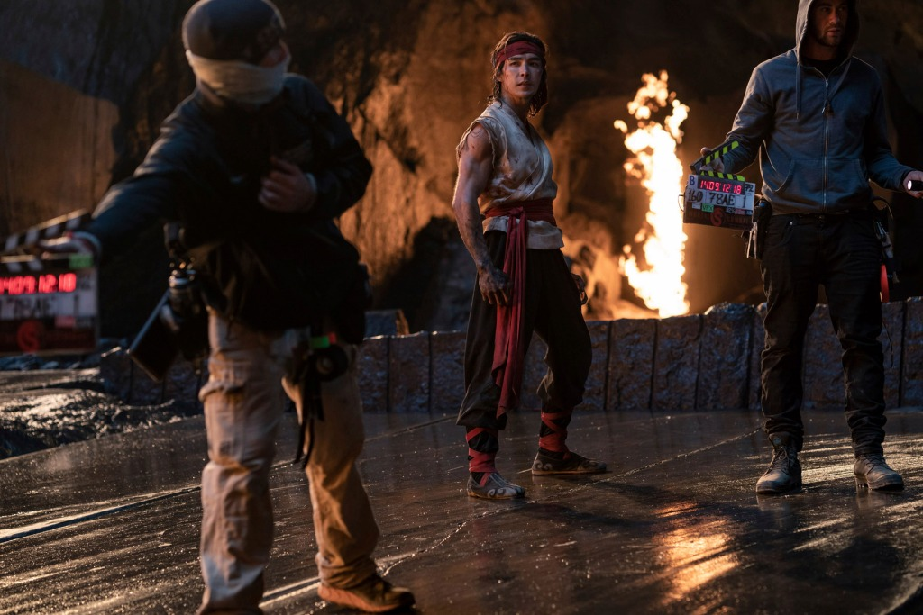 Ludi Lin as Liu Kang on the set of the Mortal Kombat movie