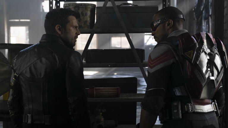 Bucky Barnes (Sebastian Stan) and Sam Wilson (Anthony Mackie) in The Falcon and The Winter Soldier