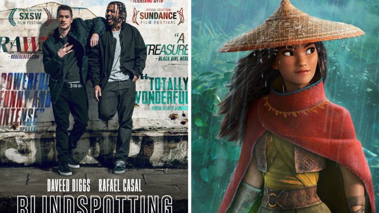 The poster for Blindspotting and Raya from Raya and the Last Dragon