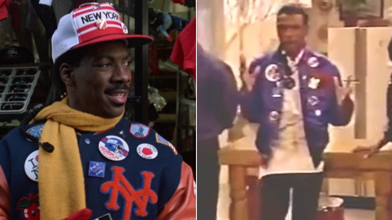 Eddie Murphy in Coming to America; Tommy Davidson on the Coming to America TV pilot.