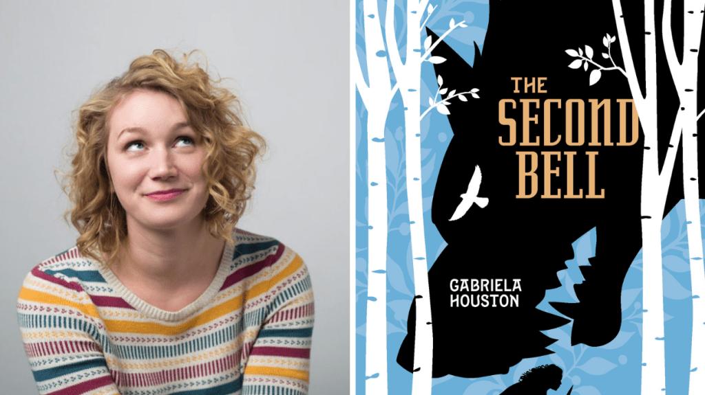 La autora Gabriela Houston y la portada de su libro The Second Bell