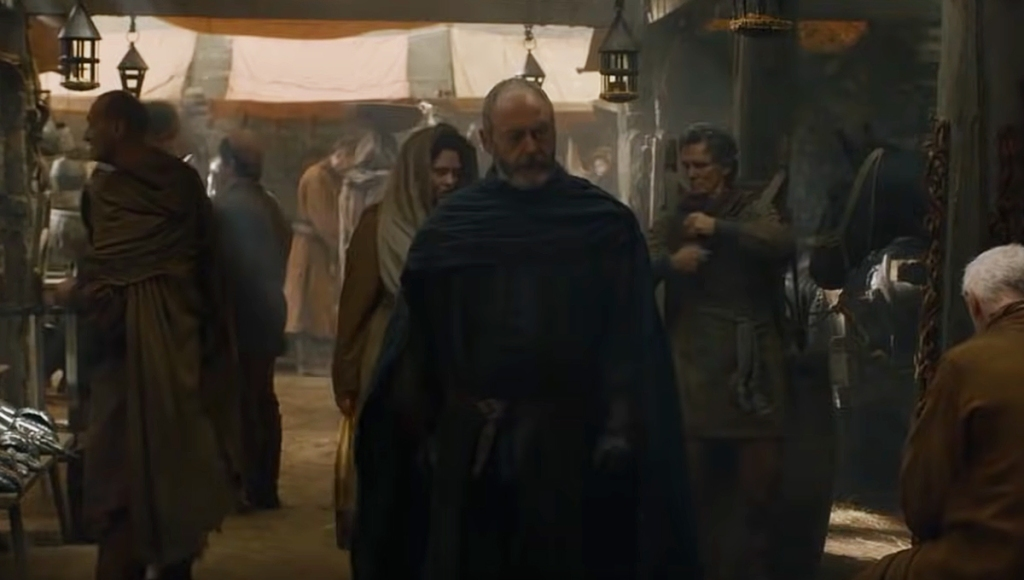 Liam Cunningham como Davos en Fleaboden en Game of Thrones.
