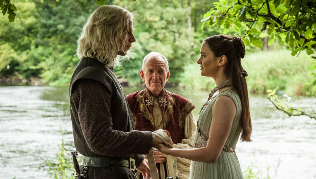 Juego de Tronos: Wilf regaña como Rhaegar Targaryen y Aisling Franciosi como Lyanna Stark.