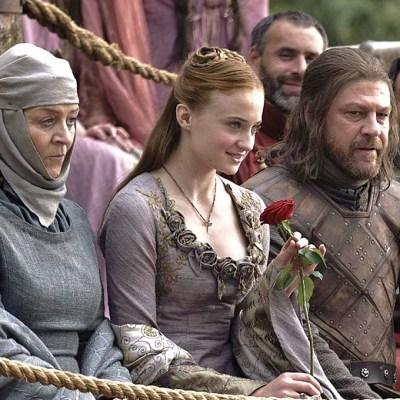 Game of Thrones: Sophie Turner as Sansa Stark, Sean Bean as Ned Stark.