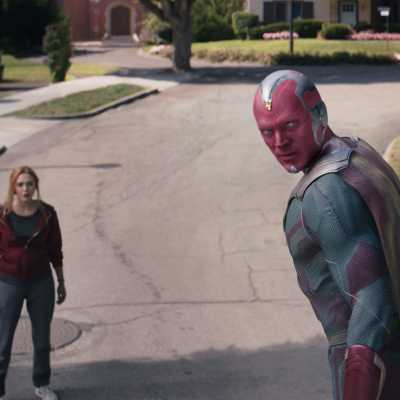 Elizabeth Olsen as Wanda Maximoff and Paul Bettany as Vision in Marvel's WandaVision Episode 9