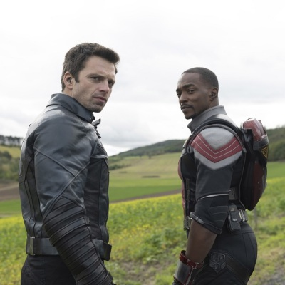 Sebastian Stan as Bucky Barnes and Anthony Mackie as Sam Wilson in Marvel's The Falcon and the Winter Soldier Episode 2