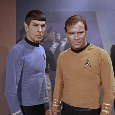"Spock and Kirk stand together in Star Trek's ""A Taste of Armageddon"""