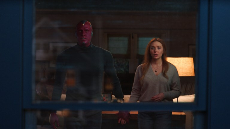 Paul Bettany as Vision and Elizabeth Olsen as Wanda Maximoff in Marvel's WandaVision Episode 9