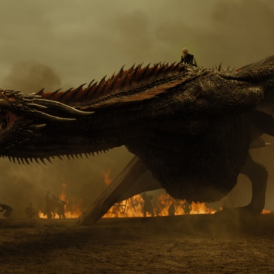 Daenerys Targaryen (Emilia Clarke) on Drogon in Game of Thrones Season 7